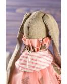 Мягкая игрушка ручной работы заяц тильда текстиль красный 43 см