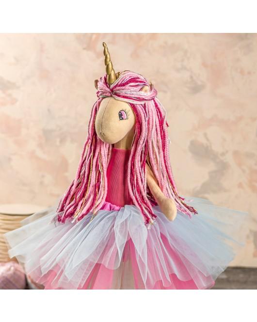 Мягкая интерьерная игрушка ручная работа единорог Вересково-фиолетовый стильняшка 45 см подарок детям