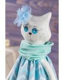 Мягкая игрушка ручная работа кошка Небесно-синий текстиль 43 см