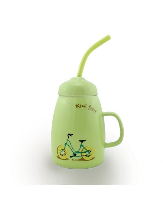 Чашка з кришкою і трубочкою 300мл колір - зелений (120221)