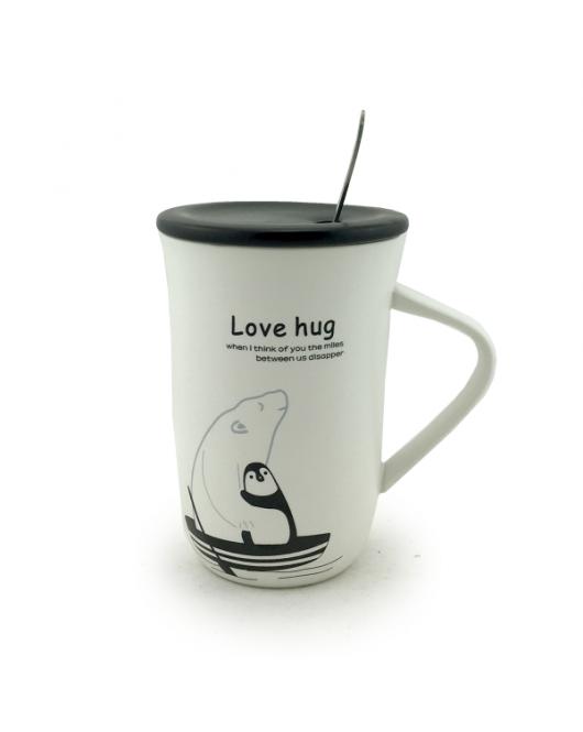 Чашка с крышкой и ложкой 380мл embrace (120225)