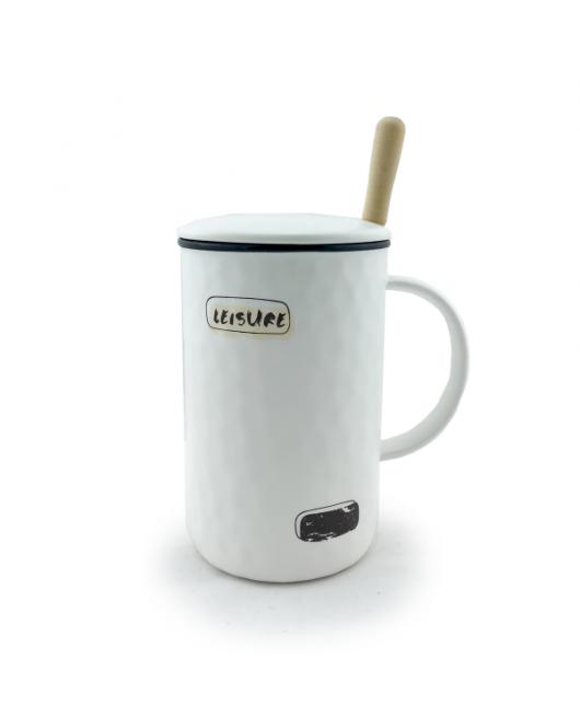Чашка з кришкою і метал. ложкою 350мл black (ХН-159)