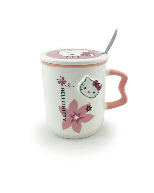 Чашка с крышкой и ложкой 350мл HELLO KITTTY flower (EL 475b)