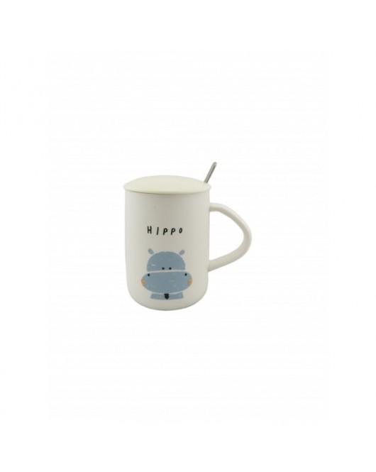 """Чашка с крышкой и ложкой ZOO """"Бегемот"""" 350мл (560)"""