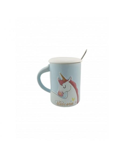 Чашка с крышкой и ложкой