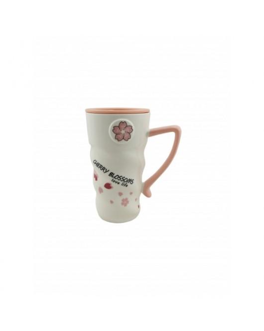 """Чашка з кришкою і ложкою """"Flowers"""" №3 400мл (CY-6052)"""
