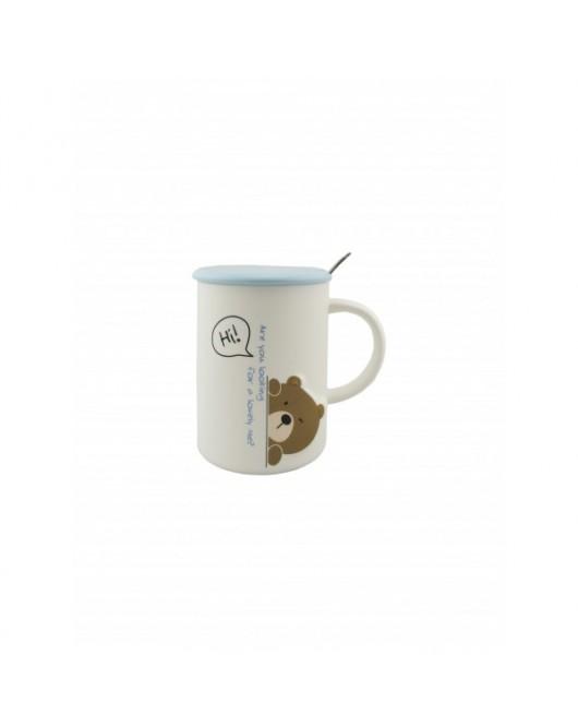 """Чашка з кришкою і ложкою """"Мишка"""" blue-white 350мл (556)"""